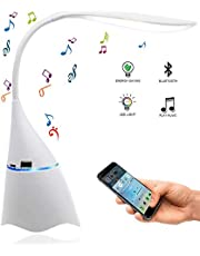 Manba Lámpara de escritorio LED con altavoz Bluetooth integrado y puerto de carga USB, lámpara de mesa para el cuidado de los ojos, cuello de cisne flexible de 360 grados, regulable de forma continua, panel de control sensible al tacto (Blanco)