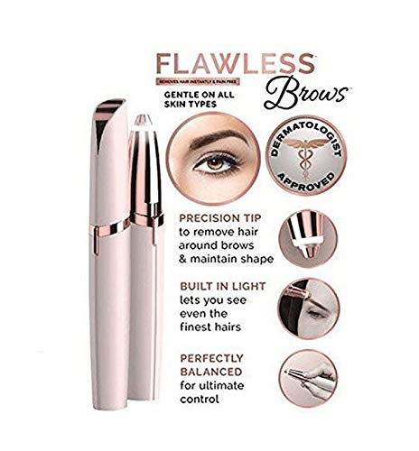Electric Flawless Brows Eyebrow Hair Remover,Women's Painless Hair Remover for Nose, Eyebrow Hair, Face Lip, Flawless touch finishing