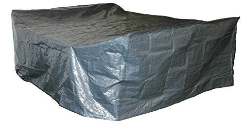 habeig Schutzhülle für Gartenmöbel, Premiumqualität aus 140g / m² PP Woven Gewebe wasserdicht für große Sitzgruppe, grau, 300 x 250 x 80 cm,  62930