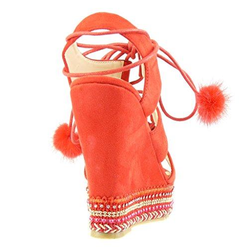 Angkorly Chaussure Mode Sandale Espadrille Plateforme Ouverte Femme Perle Tréssé Pom-Pom Talon Compensé Plateforme 13 cm Rouge 8A3N64VMyQ