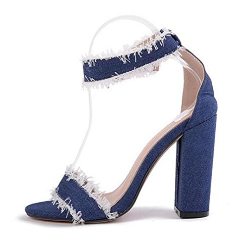 Bolt Suede Mouth Gift Hollow High Out Heels Shoes Women's Personality Clinch Fish Girl's HETAO Summer Stiletto Blue Court AqIS7aw