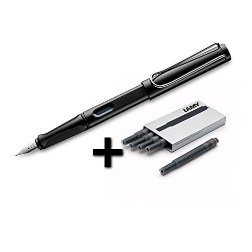 Lamy Safari Fountain Pen (19F) Black + 5 Black Ink Cartridges