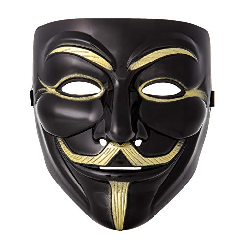 Ultra Black Adults Guy Fawkes Mask Hacker Anonymous Halloween Fancy Dress Adults Kids Childrens Costume Play (1)