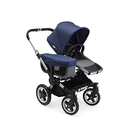 Bugaboo Donkey 2 Mono Baby Stroller, Foldable Stroller, Converts into Twin Side-by-Side Sibling Stroller, from Birth Baby Stroller, Infant Stroller, Multiple Seat Positions, Blue Mélange/Sky Blue
