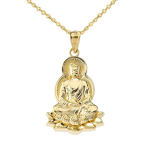 Fine 10k Yellow Gold Buddha on a Lotus Flower Pendant Necklace, 18