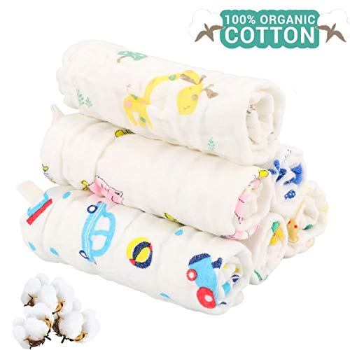 Muslin Cotton Baby Washcloths, Natural Cotton Baby Wipes, Soft & Hypoallergenic Newborn Baby Face Towel, Perfect Baby Registry as Shower Gift,6 Pack 10x10 inches