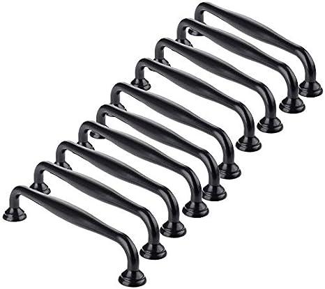 Drenky 10 piezas de manija de gabinete manija de mueble negra tirador de caj/ón manija de cocina de metal s/ólido el centro del orificio interno es de 128 mm hecho de aleaci/ón de aluminio,con tornillo