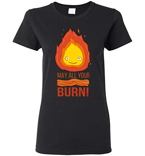 Calcifer May All Your Bacon Burn Howls Moving Castle Inspired Women/Ladies/Girls T-Shirt Black (Tshirt Howls Castle Moving)