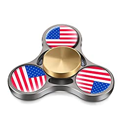 Fidget Spinner - 2017 COEO Durable Metal Hand Spinner Stress Reducer Premium Bearing Tri Spinner Last 3 Minutes (Bronze flag)