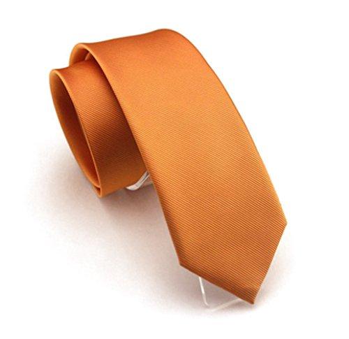 Solid Orange Color Slim Ties Pure Color Necktie Mens Ties 2.4'' (6cm)+ Gift (Slim Necktie Tie)