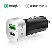Quick Charge 2.0 + Type C Car Charger, BlitzWolf 33W 3A USB-C and Qualcomm QC2.0 5V/9V/12V USB Charger for Samsung Galaxy S6 Edge, Sony Xperia, Google Chromebook Pixel, Nexus 6P 5X, HTC, LG (Grey)