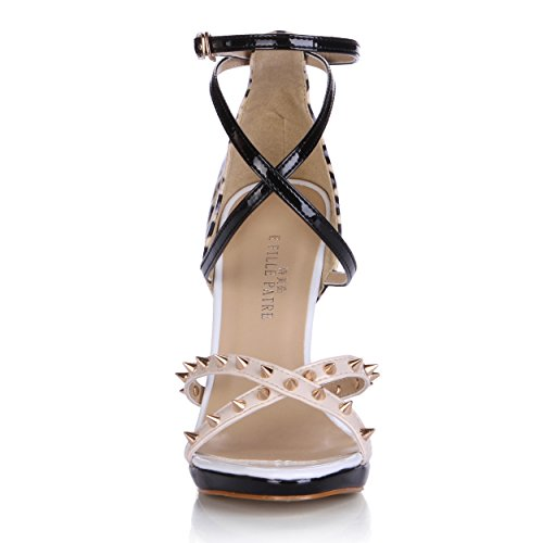 Stiletto Sandals SM00285 Fashion DolphinGirl Print Bluckle Black Rivet Shoes Heel Women Strap Nude High CqCn6SA4