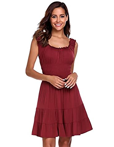 Zeagoo Women Pleated Sleeveless Square Neck Fit and Flare A-line Mini Dress Wine Red S - Flare Mini Dress