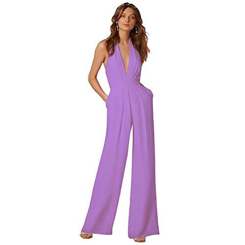 Lielisks Sexy Jumpsuits Formal Sleeveless V-Neck Halter Wide Leg Long Pants Light Purple L ()