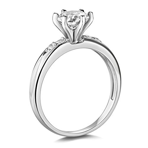 14K White Gold Wedding Engagement Ring - Size 6.5