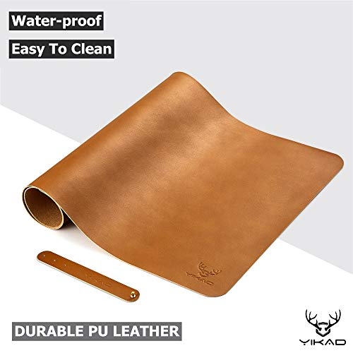 """Yikda Extended Leather Gaming Mouse Pad/Mat, Large Office Writing Desk Computer Leather Mat Mousepad,Waterproof,Ultra Thin 1.2mm - 31.5""""x15.7"""" (Brown)"""
