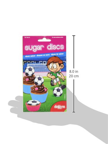 Dekora 12 Mini Disco Comestible De Futbol Para Cupcakes Muffins O Magdalenas De 34 Cm De Diametro