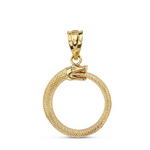 Solid 14k Yellow Gold Eternal Cycle Ouroboros Serpent Snake Pendant ()