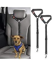 Bwogue 2 Packs Dog Cat Safety Seat Belt Strap Car Headrest Restraint Adjustable Nylon Fabric Dog Restraints Vehicle Seatbelts Harness (Black Elastic Bungee)