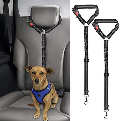 2 correas cinturon de seguridad perros auto negro elastico