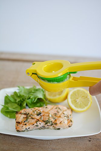 Top Rated Zulay Premium Quality Metal Lemon Lime Squeezer - Manual Citrus Press Juicer 6 GET EVERY LAST DROP FROM YOUR FRUIT our citrus press is proven to get more juice than dozens of other brands, you also will have NO SEEDS in your juice. Works perfectly on Meyer lemons, Key limes, limequats, Mexican limes, Eureka or Lisbon lemons, Rangpur or Tahiti limes, from Florida, California or Abroad our citrus juicer tool can squeeze them all with maximum result. SAVE TIME AND EFFORT with our easy-to-use and easy-to-store lemon squeezer, even a kid can use this citrus press. No more worrying about electricity or batteries. No more bulky, hard-to-clean juicers crowding the decor of your home bar or kitchen. Whether you're a chef or simply want a pampered squeeze, you can be drinking lemonade in a just seconds. STURDY HEAVY DUTY METAL BOWLS this 2-in-1 lemon press/lime press can juice limes, large lemons and even small sized oranges. This manual juicer is made with sturdy industrial aluminum and non-toxic certified lead-free coating, it is safe and reliable.