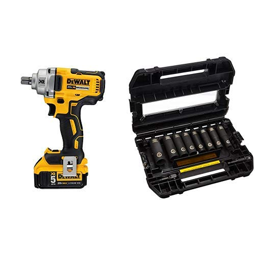 DEWALT DCF894P2 20V Max Xr 1/2'' Mid-Range Cordless Impact Wrench with Detent Pin Anvil Kit with DEWALT DW22812 1/2-Inch 10-Piece IMPACT READY Socket Set (SAE)