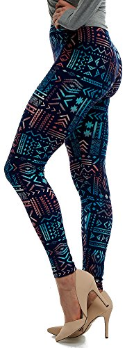LMB Lush Moda Extra Soft Leggings With Designs- Variety Of Prints - 136F,Aztec Multi Ornament,One Size fits Most (XS - XL)