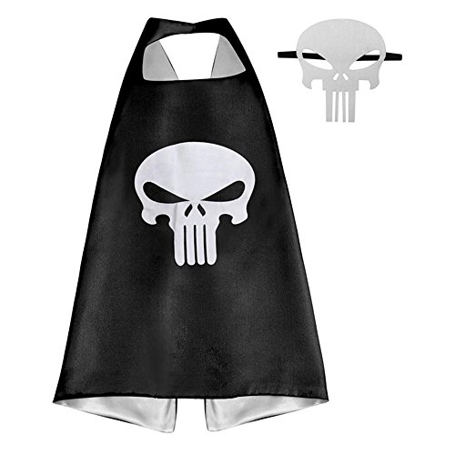 [Athena Superheroes Dress Up Punisher Logo Cape and Mask Gift Box Included] (Punisher Costumes For Sale)