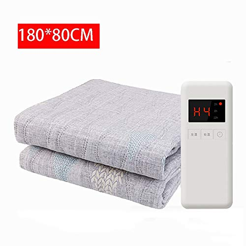 Heating Blanket Washed Cotton Electric Overblanket Safe Waterproof 4 Speed Adjustment Double Control Thermostat Uniform Heating Timing Automatic Power-Off Single/Double 18080cm