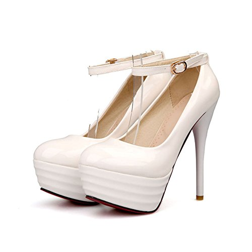 Stiletto Ladies High Dress Heel Women's Shoes White Wedding Platform Lucksender Party Pump wpF8Fq