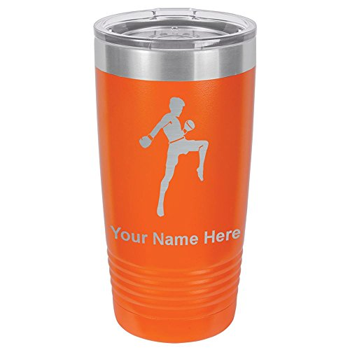 20oz Tumbler Mug, Muay Thai Fighter, Personalized Engraving Included (Orange) by SkunkWerkz