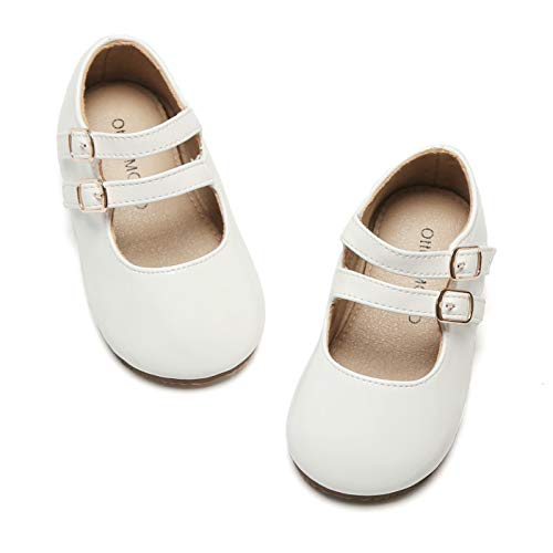 Otter MOMO Girls Mary Jane Ballerina Flats Double Buckle Straps School Uniform Dress Shoes (Toddler/Little Kid) (8 M US Toddler, D706-White)