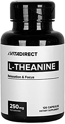 VitaDirect 250mg Pure L-Theanine – For Focus and Reduced Anxiety [120 Veg Capsules]