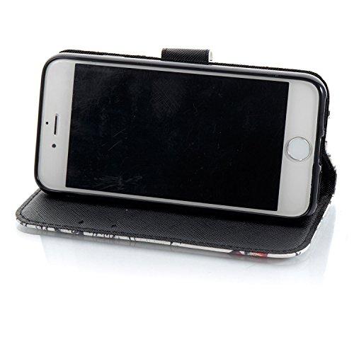 Coque iPhone 7 Papillon coloré Portefeuille Fermoir Magnétique Supporter Flip Téléphone Protection Housse Case Étui Pour Apple iPhone 7 4.7'' + Deux cadeau