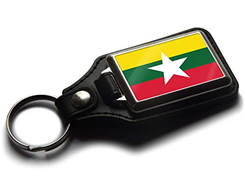 Flag of Myanmar Burma National Colours Quality Leather and Chrome Keyring