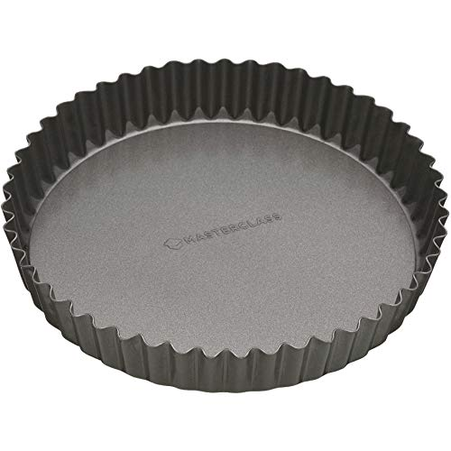MasterClass KCMCHB39 20 cm Loose Bottomed Tart Tin with PFOA Non Stick, Robust 1 mm Thick Carbon Steel, 8 Inch Fluted…