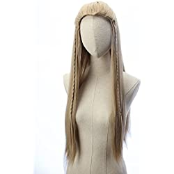 Legolas Long Curly Wigs Braided Blonde Cosplay Party Costume Halloween Hair Wig