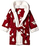 Petit Lem Kids' Little Holiday Unisex Hooded Robe, Comfy, Cute and Cozy Softness, Burgundy, 4