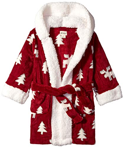 Petit Lem Kids' Little Holiday Unisex Hooded Robe, Comfy, Cute and Cozy Softness, Burgundy, 7 (Christmas Robe)