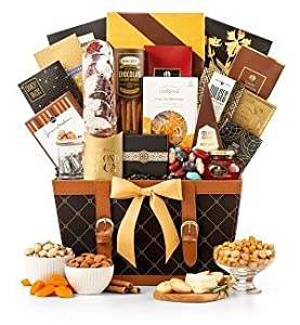 Gourmet Food & Snack Gift Basket by GiftTree | The Golden Gourmet | Includes Savory and Sweet Snacks | Keepsake Leather Serving Tray | Great For Holiday, Christmas, Mom, Dad | Top-Rated