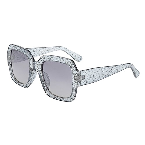 WOWSUN Vintage Square Sunglasses for Women Multi Tinted Glitter Frame Stylish (Glitter Clear Frames)
