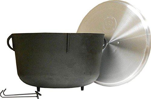 King Kooker 5940 10-Gallon Heavy Duty Cast Iron Jambalaya Pot with Feet and Aluminum Lid - King Kooker Cast Iron
