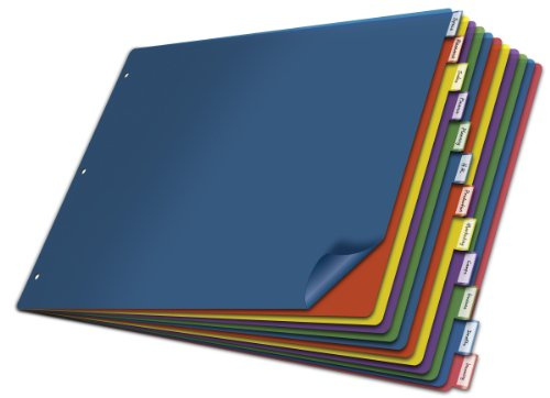 Cardinal Poly Insertable Dividers, 12-Tab, 11 x 17 Inches, Multi-Color (84804)
