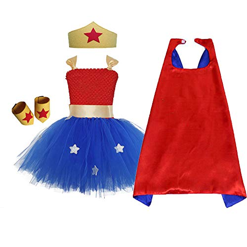 Super Hero Dress Up for Little Girls Wonder Woman Tutu Costume Sets Birthday Carnival Party Role Play (Red&Royal, Large) ]()
