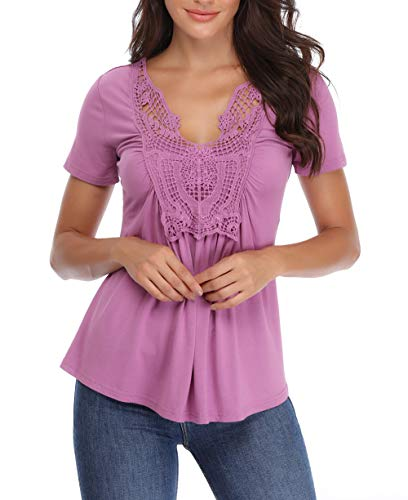 b9db5af2505a4 MISS MOLY Peasant Blouses Women's Peasant Tops Deep V Neck Shirts Peplum  Tops Women Ruched Front