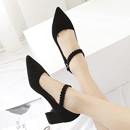 boquilla de de zapatos Negro 36 punta de luz solo la otoño zapatos negrita la Con con satén la Zapatos mujer 1vfxPnag