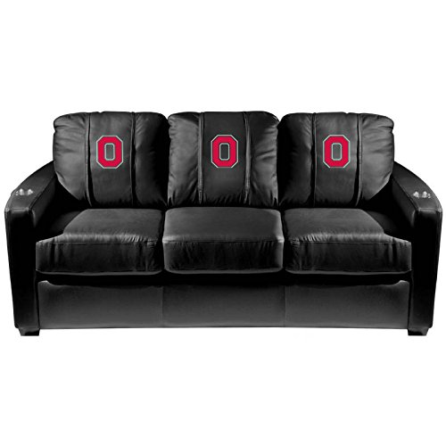 XZipit College Silver Sofa with Ohio State Buckeyes Block O Logo Panel, Black