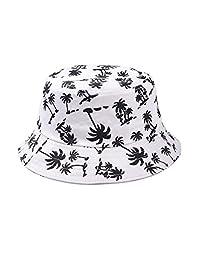 Elisona-Fashion Chic Maple Leaf Print Ladies Girls Women Fisherman Bucket Cap Summer Beach Sun Hat White