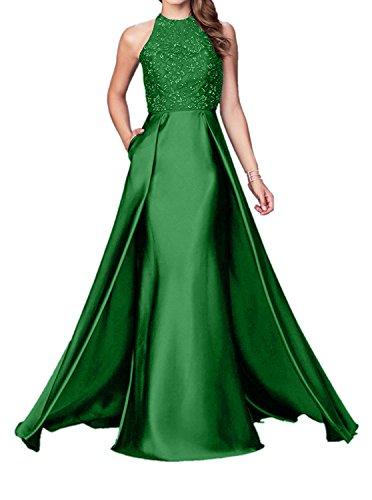 Schleppe Elegant Meerjungfrau Ballkleider Braut Satin La mia Figurbetont Abendkleider Brautmutterkleider mit Grün wzgpxBq