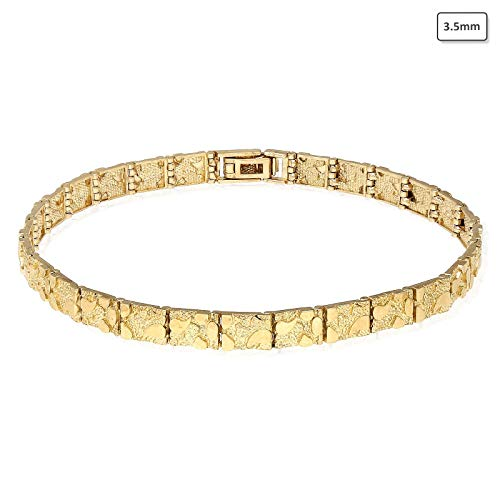 Solid 10K Yellow Gold 3.5mm-9mm Nugget Diamond-Cut Bracelet 8.25